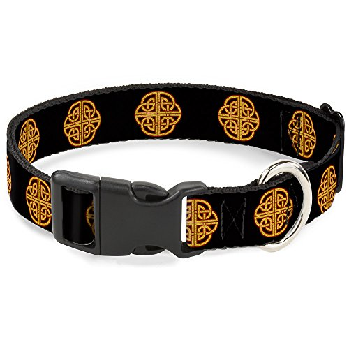 Buckle-Down Plastic Clip Collar - Celtic Knot Black/Burgundy/Gold - 1' Wide - Fits 15-26' Neck - Large