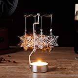 Gotian Christmas Spinning Candle Holder, Rotary Tealight Candle Metal Tea Light Holder Carousel Home Decor Gift (B)