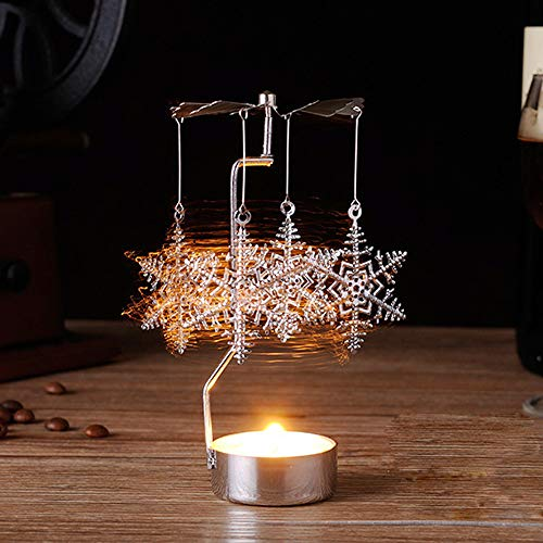 Gaddrt Christmas Spinning Candle Holder, Rotary Tealight Candle Metal Tea Light Holder Carousel Home Decor Gift (B)