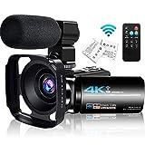 4K Camcorder Videokamera Ultra HD 48MP mit Mikrofon, WiFi IR Nachtsicht 16X Digitalzoom Vlogging Kamera für YouTube Live-Streaming,3.0 Inch Touchscreen Fernbedienung Gegenlichtblende 2 Batterien