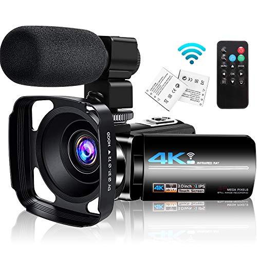 4K Videokamera Camcorder mit Mikrofon, WiFi IR Nachtsicht, Vlogging Kamera für YouTube Live-Streaming, Ultra HD 48MP 16X Digitalzoom,3.0 Inch Touchscreen Fernbedienung Gegenlichtblende 2 Batterien