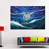 YHZSML Grandes Impresos Caballos Pegasus Mágico Volando sobre El Mar Lienzo Pinturas de Arte Impresiones Cartel para la Sala de Estar Decoración del Hogar Sin Marco 40x60 CM