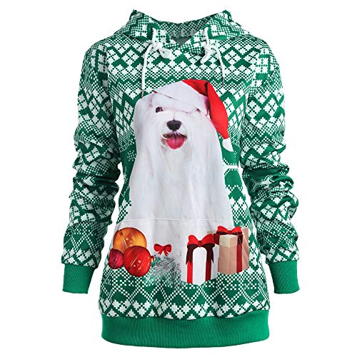 Xmiral Damen Hoodies Sweatshirt Liebhaber Plus Size Weihnachten Hund 3D Print Party Top (XXL,Grün)