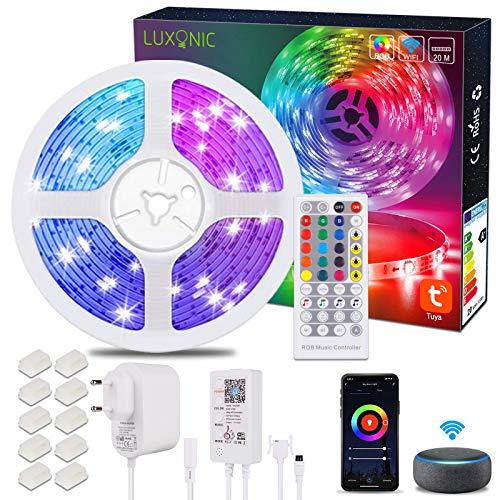 LUXONIC Striscia LED WiFi 20M / 65.6Ft RGB Sincronizzazione musicale Musica controllata da APP per smartphone, Funziona con l'Assistente Google Alexa, Strisce LED per la decorazione domestica
