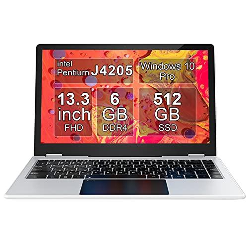 Touchscreen Laptop 13.3 Inch, AWOW Notebook, Portatile PC Convertibile, 1920*1080P FHD Display, IPX5 Wasserdicht, quad-core fino a 2,6 GHz , 6 GB di DDR4, SSD da 512 GB, Windows 10 Pro, Argento