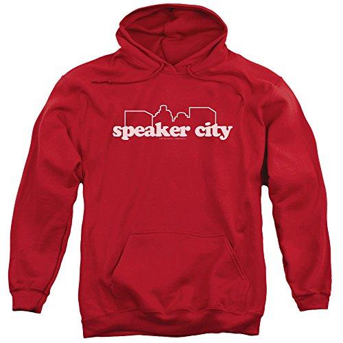 Altavoz de la Vieja Escuela City Logo Mens Pullover Hoodie (Rojo, Medio)