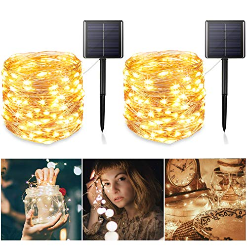 Solar StringLights Outdoor 2Pack Upgraded 8 ModesampTotal 480 LED Starbright Solar Light with 1200 Mah Battery Backup157Ft SolarFairyLight Outdoor for Garden Patio DecorationsWarm White