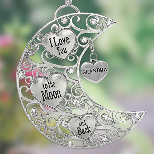 BANBERRY DESIGNS Grandma I Love You to The Moon and Back - Silver Filigree Ornament with Heart Grandma Charm - Hearts and Jewel Design - Gifts for a Special Grandmother