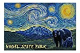 Promini Vogel State Park, Georgia - Grizzly Bear and Cub - Starry Night - 500 Piece Jigsaw Puzzles for Adults Kids, Puzzles for Toddler Children Boys and Girls 15' x 20'