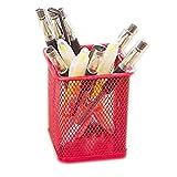 Kentop Papelera de metal para escritorio, soporte para bolígrafo, organizador, contenedor de basura, cubo de basura, alambre cuadrado, rojo, 10 x 7 x 7 cm
