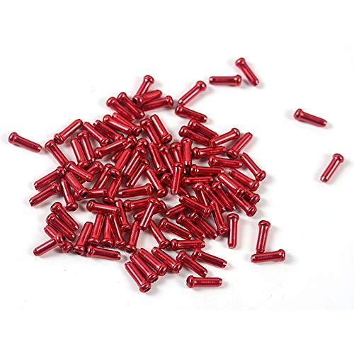 Lnner - 500 tapas de extremo de cable de aluminio ligero para bicicleta, línea de freno y desviador para accesorios de bicicleta (rojo)