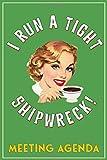 I Run A Tight Shipwreck, Meeting Agenda: Green Coffee Drinking Girl Retro themed cover.  Meeting Age...