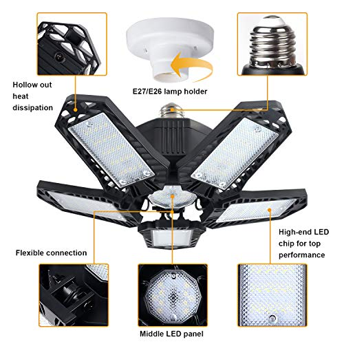LED Garage Lights 2 Pack, Deformable Garage Ceiling Light 8000LM 80W 6500K with 5 Adjustable Panels Shop High Bay Light for Barn, Warehouse, Workshop, Basement 7