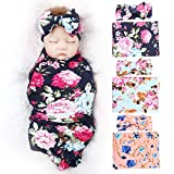 BQUBO Newborn Floral Receiving Blankets 3 Pack Newborn Baby Swaddling with Bow Headbands Sleepsack Toddler Warm