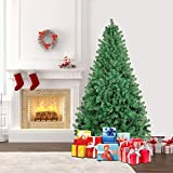 SHareconn 6.5 ft Unlit Premium Artificial Spruce Hinged Xmas Christmas Tree with 1300 Branch Tips and Metal Stand