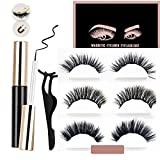 Magnetic Eyeliner and Magnetic Eyelashes, Waterproof Magnetic Liquid Eyeliner, Light weight & Easy to Wear, Best 3D Reusable Eyelashes with Tweezers