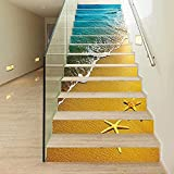 MISSSIXTY Set of 13 pcs Beach and Starfish Decorative Staircase Stickers, Self-Adhesive Tile Stickers Stair Mural Vinyl for Walls Kitchen Home Decorations,Backsplash Stickers, 39.37