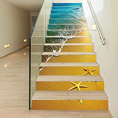 MISSSIXTY Set of 13 pcs Beach and Starfish Decorative Staircase Stickers, Self-Adhesive Tile Stickers Stair Mural Vinyl for Walls Kitchen Home Decorations,Backsplash Stickers, 39.37' L x 7.08' W