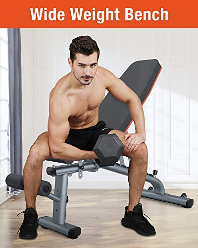 KingStone Weight Bench, Adjustable Weight Bench Strength Training Workout Bench Gray