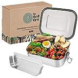 Urbavo Edelstahl Brotdose & Lunchbox, auslaufsichere umweltfreundliche Eco Bento Box, plastikfrei mit flexiblen Fächern, Verschlussclips, einfach zu reinigen - 800ml oder 1400ml (800ml)