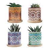 CNNIK 7cm Vaso Ceramica, Succulente Vaso per Piante con Motivo a...