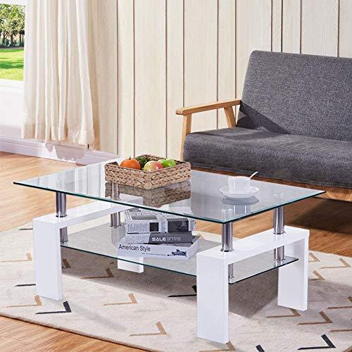 GOLDFAN Table Basse en Verre Table de Salon Blanc Table de Canapé Moderne Rectangulaire Haute Brillance pour Salon de Bureau