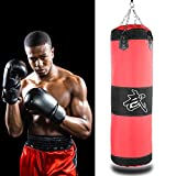 TOPINCN Punching Bag, Heavy Canvas Boxing Bag Kick Sandbag with Hanging Chain Hook Punch Bag Empty Sand Bag for Fight Karate Taekwondo MMA Martial Arts(1.2m-Red)