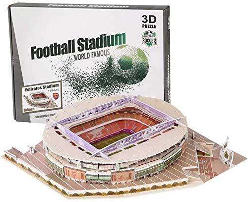 GLLP 3D Puzzle Of The Stadium - Rompecabezas de bricolaje para adultos y niños, modelo de campo de fútbol 3D, estadio Emirates, Camp NOU, estadio Bernabeu, estadio San Siro (30 cm x 4 cm x 22,5 cm)