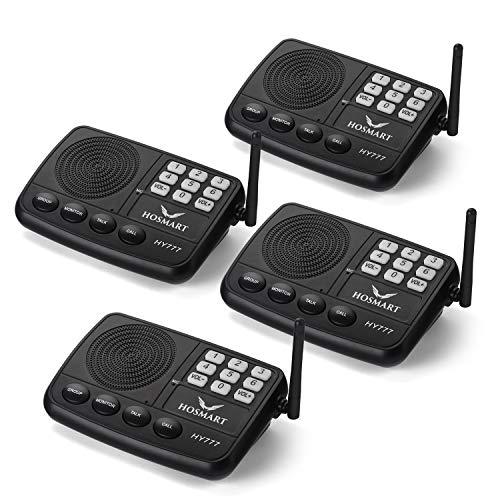 HOSMART Interfono inalámbrico para casa u Oficina, con Sistema de Seguridad inalámbrico y Largo Alcance, 800 Metros y 7 Canales (4 Interfonos)