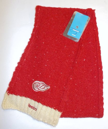 Reebok–Gorra, diseño de los Detroit Red Wings de la Mujer Rojo Classic Knit Bufanda de Invierno 2014