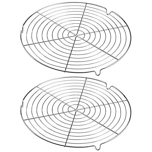 PHIEZC Rund Kuchengitter,2 Stück Metall Abkühlgitter,Tortengitter Ø 30 cm,Gleichmäßiges und Schnelles Auskühlen Leichte Lösbarkeit der Gebäcke,Passen für Topf/Ofen/Fritteuse