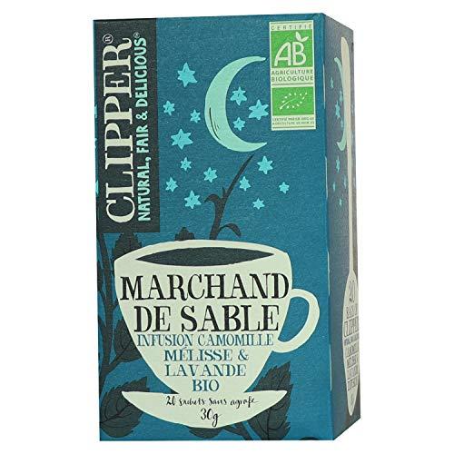 Clipper Infusion Bio Marchand de Sable - Infusion camomille, mélisse et lavande - 20 sachets Non Blanchis et Sans Agrafe - 30 g