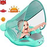 Preself 2020 Newest Baby Safety Solid Float with Stabilizer & UPF 50+ UV Sun Protection Canopy, Mambobaby Non-Inflatable Swim Ring, Infant Swimming Trainer