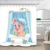 Cartoon-Schweinchen-Duschvorhang, süßes rosa kleines Schwein mit Schaumstoff-Badevorhängen, wasserdichte Stoff-Tiere, Badezimmervorhänge, 69 x 70 cm, Badezubehör mit 12 Haken für Kinder