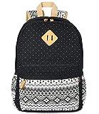 Plambag Teen Girls Backpack Cute Bookbag, Lightweight Canvas Laptop School Backpack Black Star