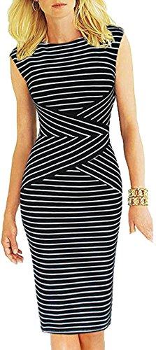 Bestfort Damen Ohne Arm Elegant Kleid Etuikleid O-Ausschnitt Business Stretch Partykleid Reißverschluss Streifen Cocktail Figurbetontes Knielang Die Taille Sommer