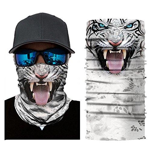 Aesy Deportes Cara Máscara, Bufanda de Ciclismo, Al Aire Libre 3D Animal Tigre Impreso Rápido Seco Quitasol Sweatband Banda para el Cabello Cabeza Bufanda