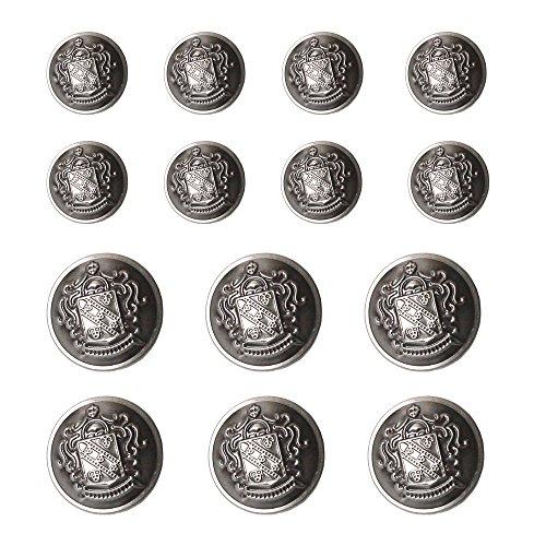 YaHoGa 14 Stück Altsilber Kunststoff Knöpfe 20mm 15mm Metallknöpfe für anzüge jacken mäntel uniform (Altsilber)