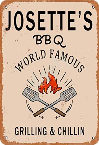 Keely Josette'S BBQ World Famous Grilling & Chillin Decorazione da Parete in Metallo Vintage con targhetta in Metallo 12x8 Pollici per Bar, ristoranti, Pub, Uomo, Grotta Decorativa