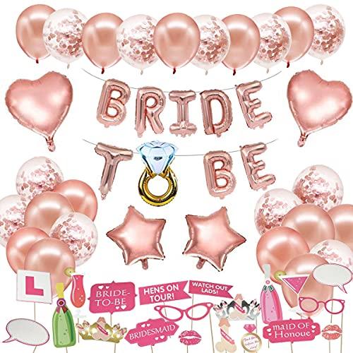 MMTX Bride to Be Décoration, Hen Party Accessoires EVJF avec la mariée à être Foil Ballons, Ballons en Latex Confetti et pour Hen Party EVJF Pack de 60