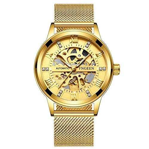 Pamura - Jordan - Herrenuhr - Armbanduhr Herren - Außergewöhnliches Ziffernblatt - Elegantes Band - Wasserbeständig - Edelstahl (Gold Metallarmband)