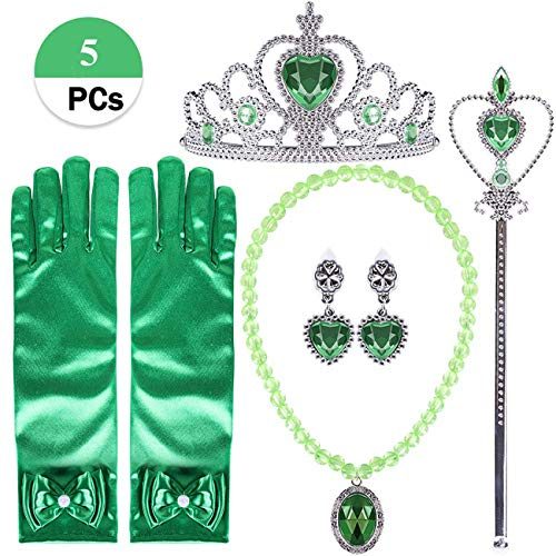 Orgrimmar Princess Dress Up Accessories Gloves Tiara Crown Wand Necklaces Presents for Kids Girls (Green)