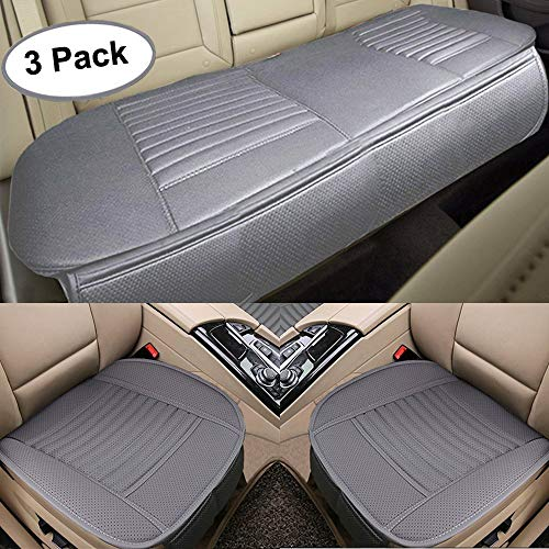 Big Ant Car Seat Cushion, 2PC Front Car Seat Pad + 1PC Rear Car Seat Cover Universal Four Season Breathable Car Interior Seat Cover for Auto Supplies with PU Leather(Gray)