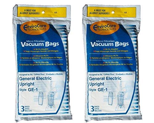 6 General Ge-1 Vacuum Bags, All Ge/Wal-Mart and Eureka Vacuums Using Ge-1 Vacuum Bags, Upright Vacuum Cleaners