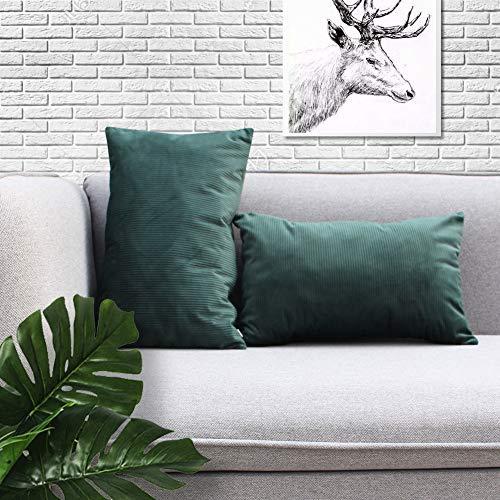 Sunfay Juego de 2 fundas de cojín decorativas de terciopelo con cremallera para sofá, cama, dormitorio, rayas sólidas 45 x 45 cm, terciopelo, verde oscuro, 30 x 50