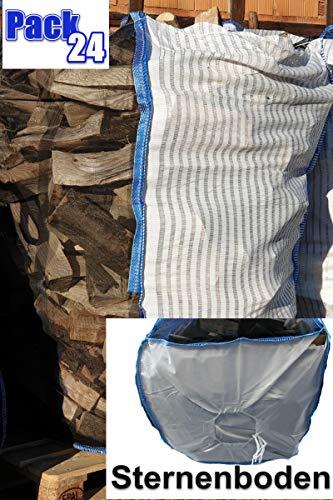 7 Stück Professioneller BigBag für Holz Brennholz Kaminholz Holzbag Woodbag Brennholzsack Netz Big Bag 100 * 100 * 120cm mit Sternboden