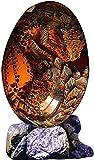 Lava Dragon Egg, Dream Crystal Transparente Dragon Egg Resina Escultura Adorno de escritorio Decoración, Exquisito regalo único, Escultura hecha a mano Fire Pocket Dragon Souvenir (Naranja con base)