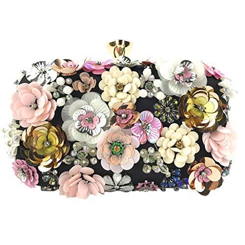 Deloito Damen Blumen Schmuck Kupplungen Handgemacht Kette Clutch Tasche Abendtasche Hochzeit Umhängetaschen Bankett Party Handtasche (Schwarz)