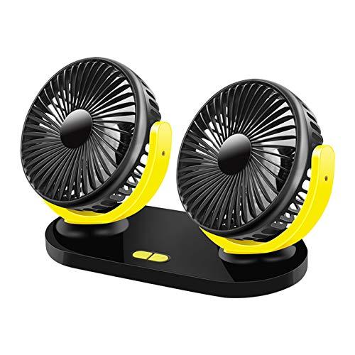 GoolRC Ventilador USB de Doble Cabezal 360 Grados Giratorio 5V 2A 3 Modos de Velocidad Portátil para Dormitorio Oficina Escritorio Coche