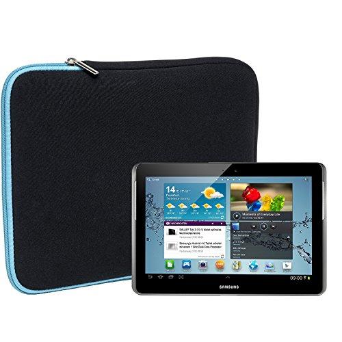 Slabo Tablet Tasche Schutzhülle für Samsung Galaxy Tab 2 10.1 (Wi-Fi) GT-P5110 Hülle Etui Case Phablet aus Neopren – TÜRKIS/SCHWARZ
